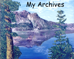 ... through my paintbrushes and pencils...Like this oil painting of Crater Lake, Oregon